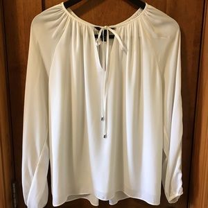 WHBM white boho peasant long sleeve lined blouse